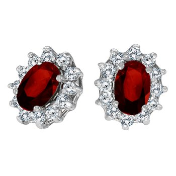 14k White Gold Oval Garnet and .25 total ct Diamond Earrings