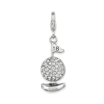 Sterling Silver 3-D Enameled Golf Ball w/Lobster Clasp Charm