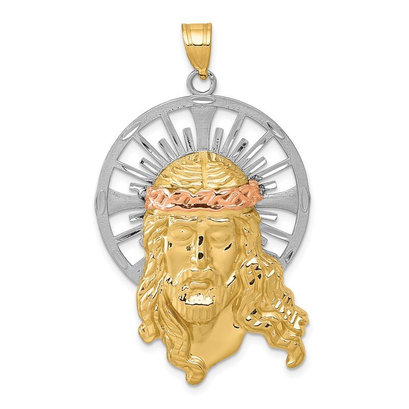 Quality Gold 14K Tri-color Diamond-cut Christ Pendant