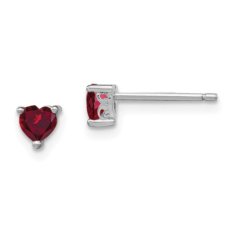 Quality Gold Sterling Silver 4mm Heart Created Ruby Post Earrings
