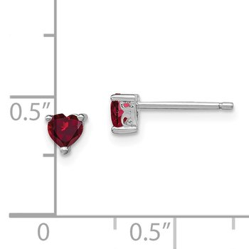 Sterling Silver 4mm Heart Created Ruby Post Earrings