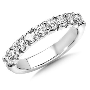 Prong set Round Diamond Wedding Band 14k White Gold (1/7ct. tw.)