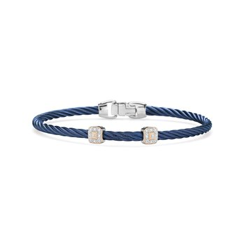 Blueberry Cable Essential Stackable Bracelet with Double Square Diamond station set in 18kt Rose Gold