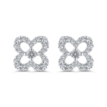 Round Cut Diamond Floral Stud Earrings