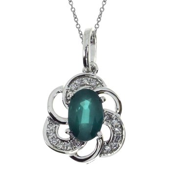 14k White Gold Emerald Oval Pendant