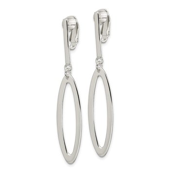 Sterling Silver Non-Pierced Oval Dangle Clip Earrings