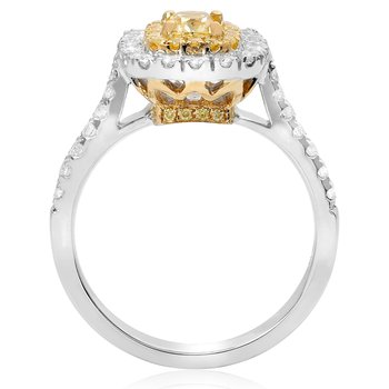 Cushion Cut Two Tone Diamond Ring