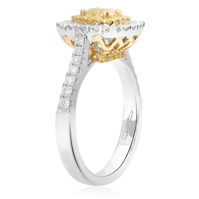 Roman & Jules Cushion Cut Two Tone Diamond Ring