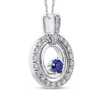 Essentials 10K White Gold 1/3 Ct Diamond with 1/3 Ct Sapphire Fashion Pendant with Chain