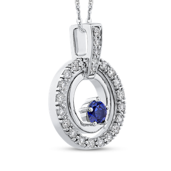 10K White Gold 1/3 Ct Diamond with 1/3 Ct Sapphire Fashion Pendant with Chain