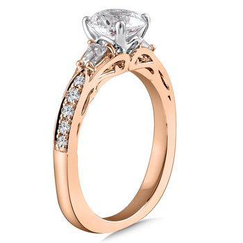 Diamond Engagement Ring Mounting in 14K Rose Gold with Platinum Head (.34 ct. tw.)