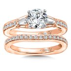 Caro74 Diamond Engagement Ring Mounting in 14K Rose Gold with Platinum Head (.34 ct. tw.)