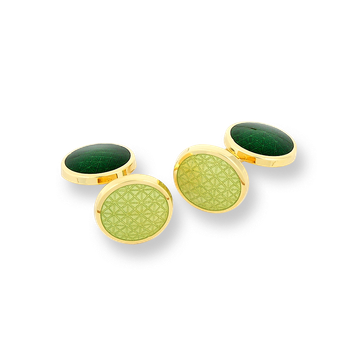 18 Karat Gold Double Round Cufflinks-Green