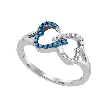 10kt White Gold Womens Round Blue Color Enhanced Diamond Heart Love Ring 1/6 Cttw