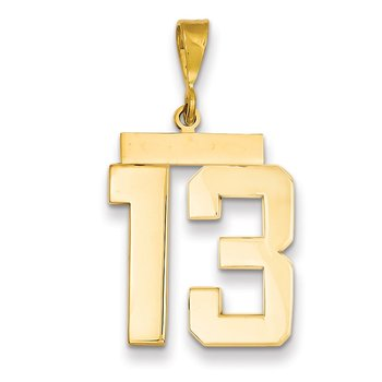 14k Large Polished Number 13 Charm