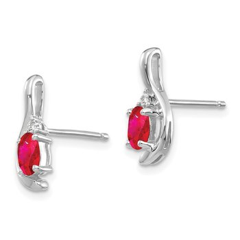 14k White Gold Ruby and Diamond Post Earrings
