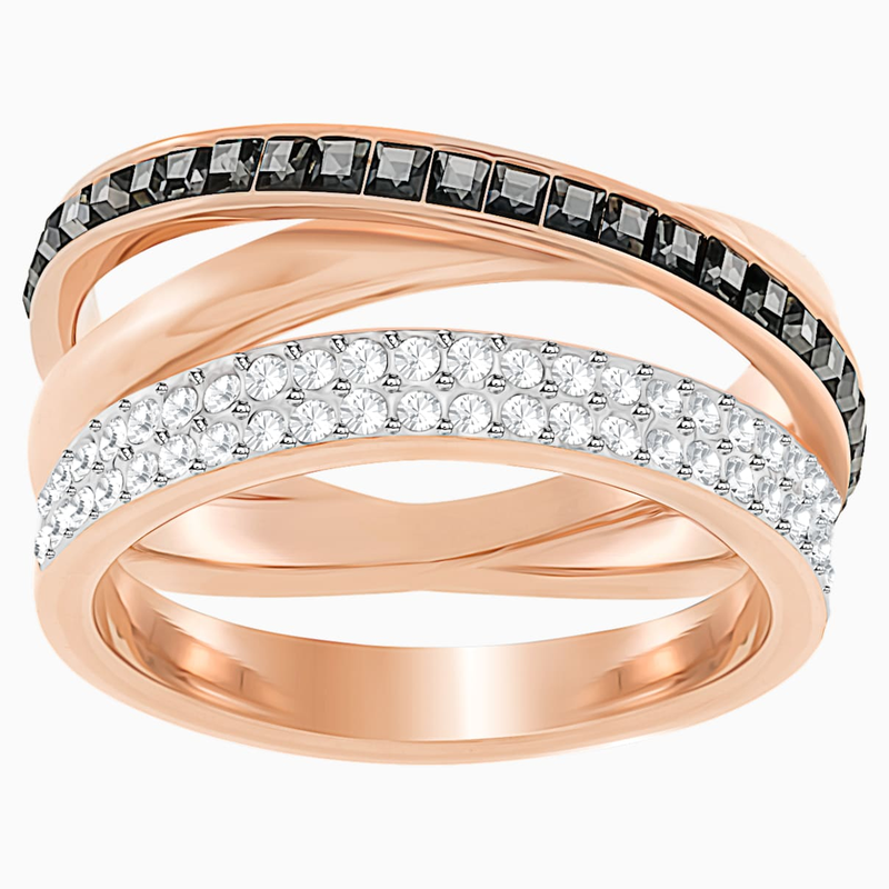 Swarovski Hero Ring, Gray, Rose-gold tone plated