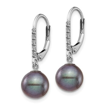 14k White Gold 8-9mm Black FWC Pearl .05ct Diamond Leverback Earrings