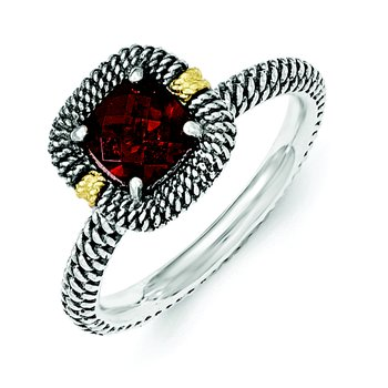Sterling Silver w/14ky Garnet Cushion Ring