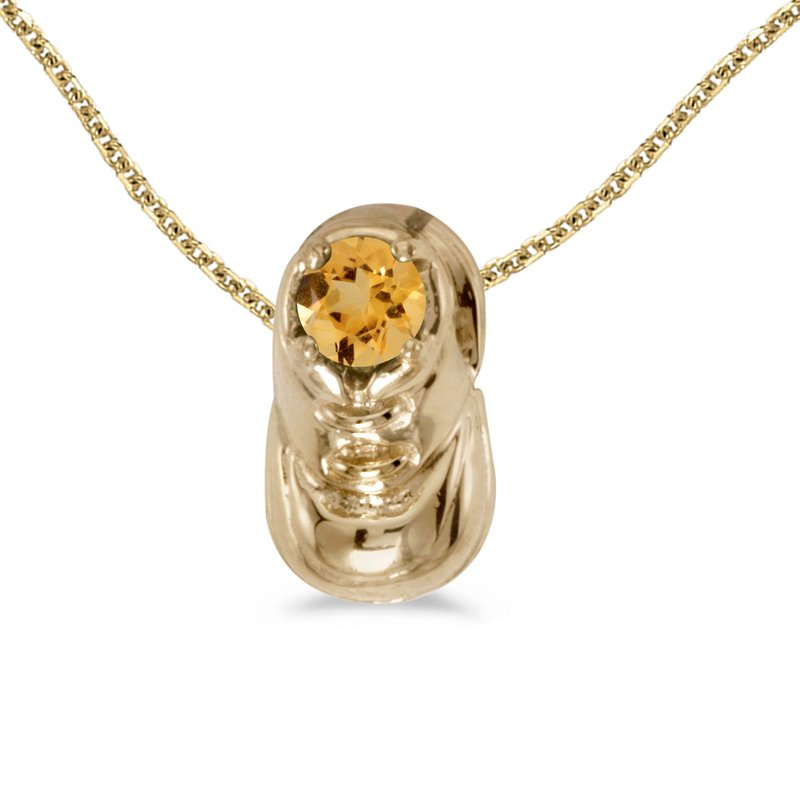 Color Merchants 10k Yellow Gold Round Citrine Baby Bootie Pendant