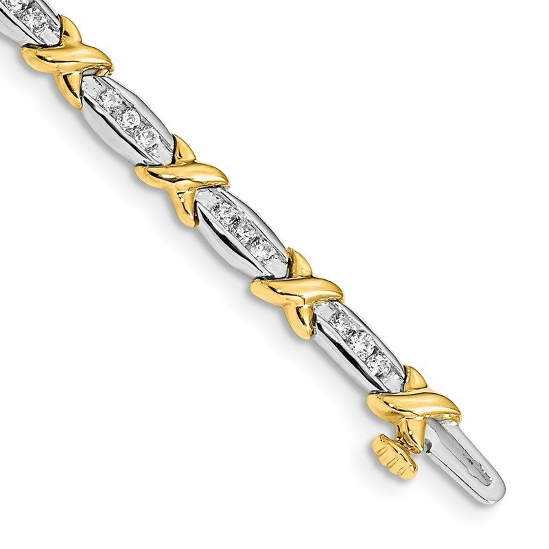 Quality Gold 14k Two-tone Polished Fancy Diamond Bracelet
