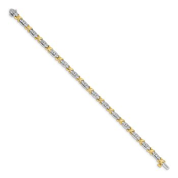 14k Two-tone Polished Fancy Diamond Bracelet