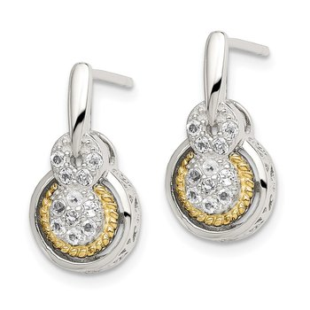 Sterling Silver w/14k White Topaz Drop Stud Earrings