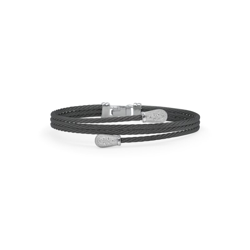 ALOR Black Cable Modern Pass Bracelet with 18kt White Gold & Diamonds
