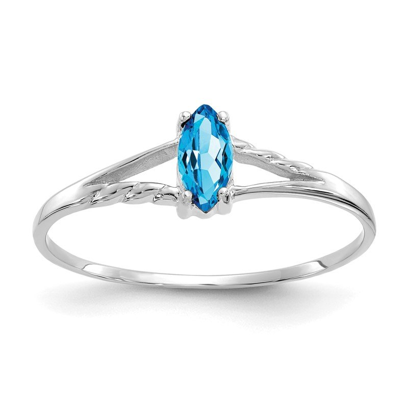 Quality Gold 14k White Gold Blue Topaz Birthstone Ring