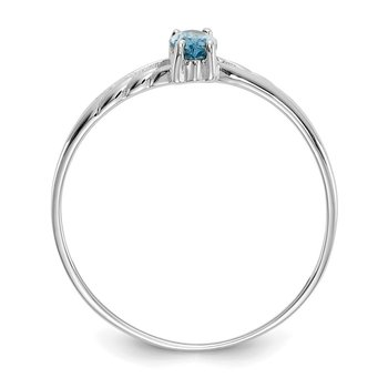 14k White Gold Blue Topaz Birthstone Ring