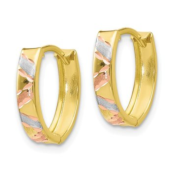 Leslie's 10K Two-tone & White Rhodium Polished & Satin D/C Earrings