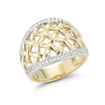 14K Domed Diamond ring