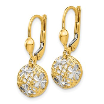 14K and Rhodium Polished Diamond-cut Dangle Leverback Earrings