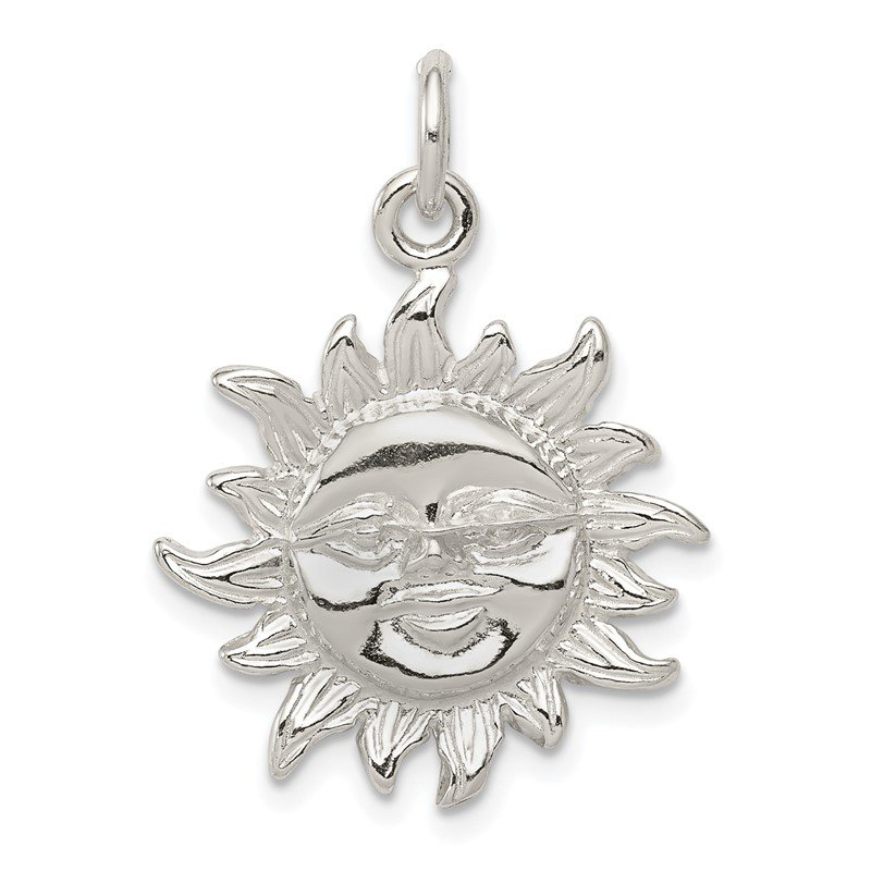Quality Gold Sterling Silver Polished Sun Pendant