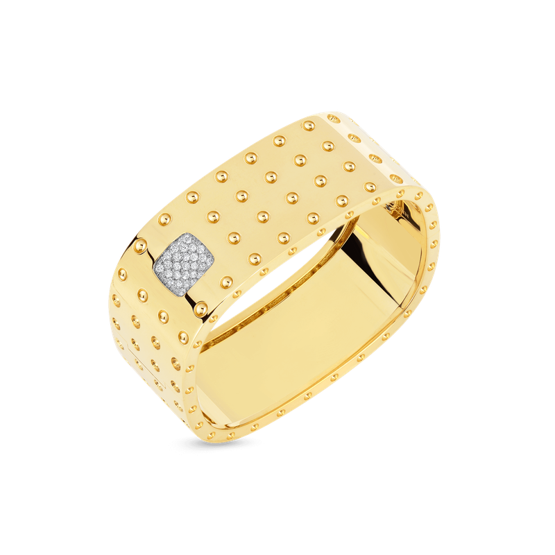 Roberto Coin 4 Row Square Bangle With Diamonds &Ndash; 18K Yellow Gold, M