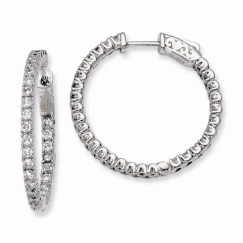 Sterling Silver Rhodium-plated In and Out CZ Round Hinged Hoop Earrings