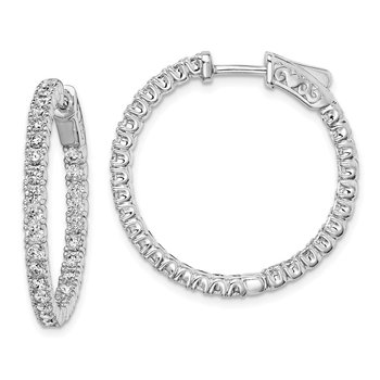 Sterling Silver Rhodium-plated In and Out CZ Hinged Hoop Earrings