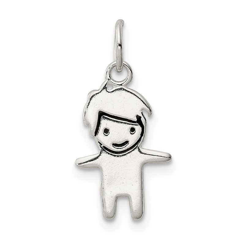 Quality Gold Sterling Silver Enameled Boy Charm