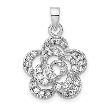 Sterling Silver Rhodium-plated CZ Flower Pendant