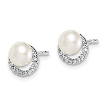 Sterling Silver Rhodium Plated FWC Pearl CZ Post Earrings