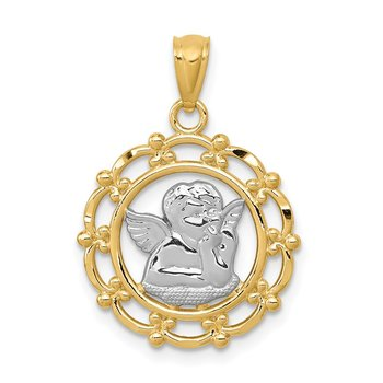 14k w/Rhodium Angel Pendant