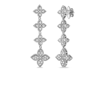 Drop Earrings With Diamond &Ndash; 18K White Gold