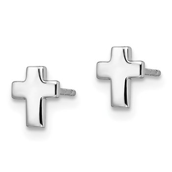 Leslie's 14k White Gold Polished Cross Post Earrings