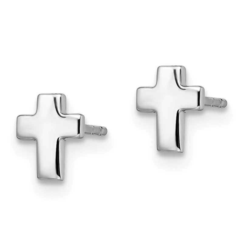 Leslie's Leslie's 14k White Gold Polished Cross Post Earrings