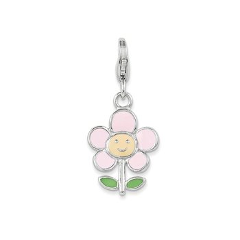 Sterling Silver Rhodium-plated w/Lobster Clasp Enameled Flower Charm