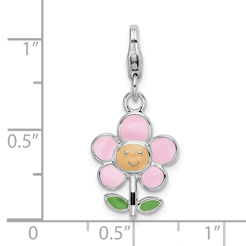 Quality Gold Sterling Silver Rhodium-plated w/Lobster Clasp Enameled Flower Charm