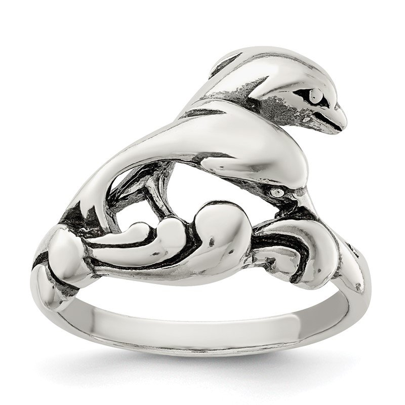 Quality Gold Sterling Silver Antiqued Dolphin Ring
