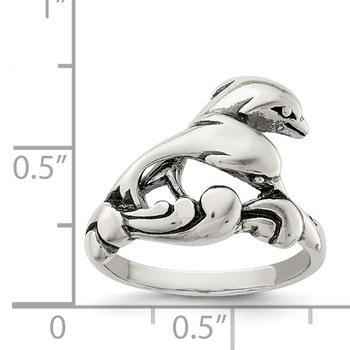 Sterling Silver Antiqued Dolphin Ring
