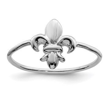 Sterling Silver Rhodium-plated Polished Fleur De Lis Ring