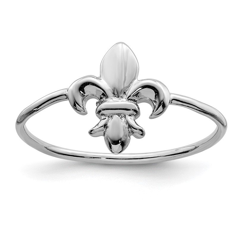 Quality Gold Sterling Silver Rhodium-plated Polished Fleur De Lis Ring